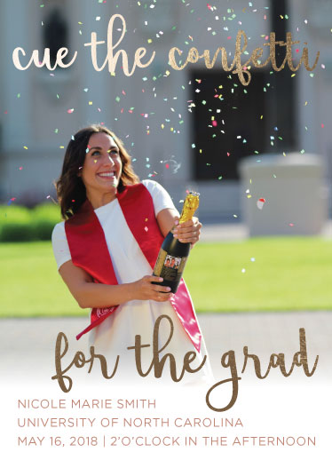 graduation announcements - Cue the confetti by sophie williams