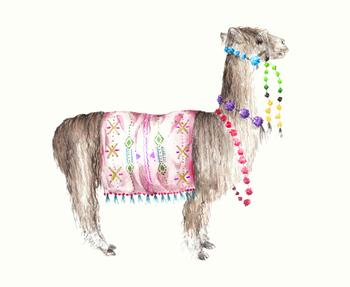 Alpaca Decorated Watercolor