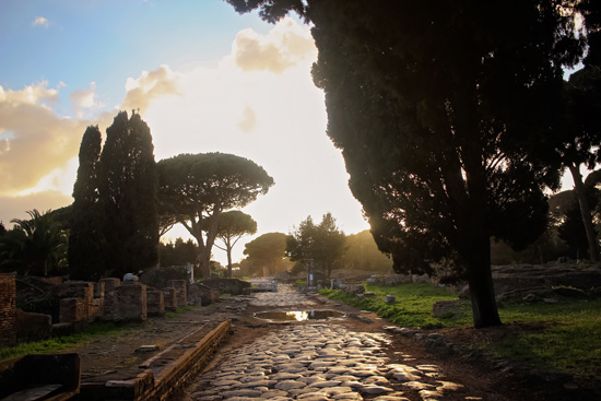 art prints - Sunset at Ostia Antica by Ashley Daley