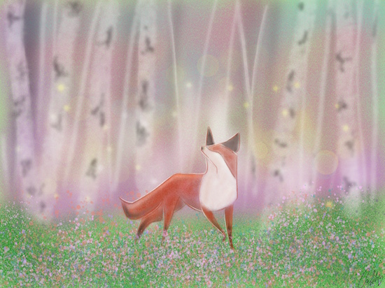 art prints - A Fox in the Aspens by Callie Mills
