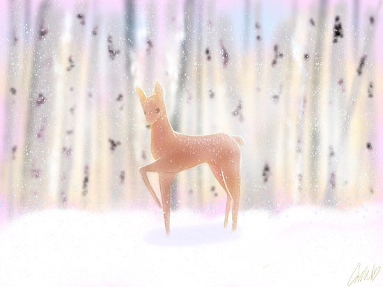 art prints - Snowfall and Fawns by Callie Mills