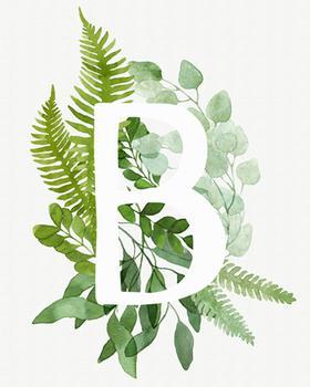 Watercolor Floral Monogram B