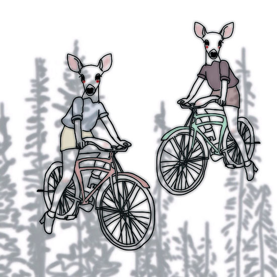 art prints - he said oh no! we have no deer on bicycles here, but somehow i did not believe him by ruth allen