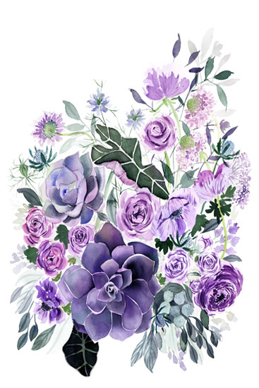 art prints - Violet Floral by Yandi Jester