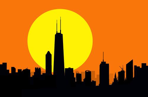 art prints - Chicago Sunset by Samiran Sarkar
