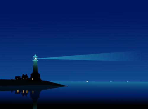 art prints - Lighthouse at Night by Samiran Sarkar
