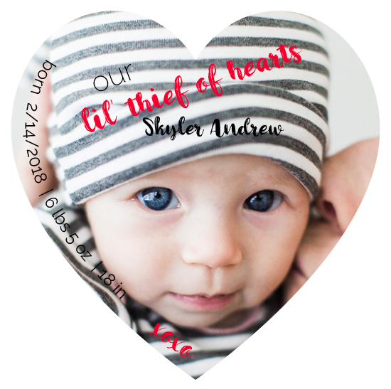 birth announcements - Our Lil' Thief of Hearts by Marcie Adams