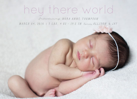 birth announcements - hey world by Sarah Stoicich