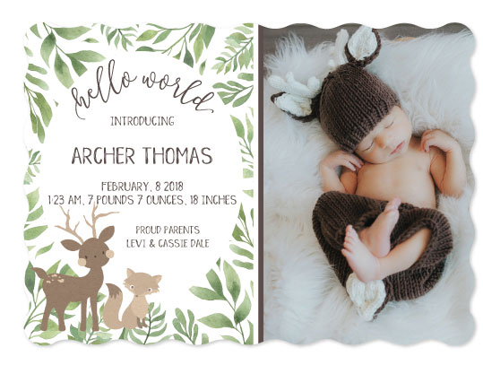 birth announcements - Crafty Woodland Friends by Karen Holcombe