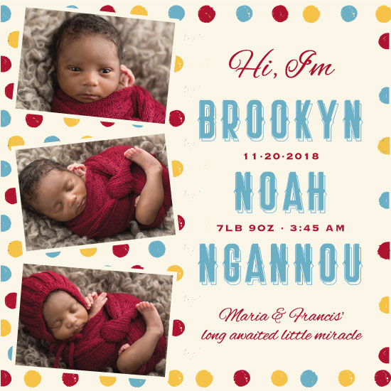 birth announcements - Polka Dot Baby by Noma Maluzo
