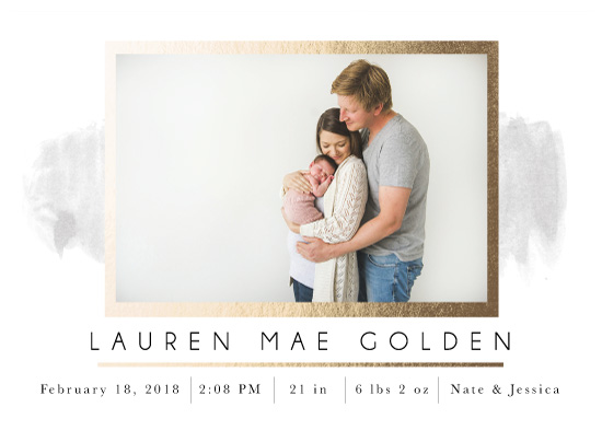 birth announcements - Simple Gold Baby Announcement by Michayla Pearson