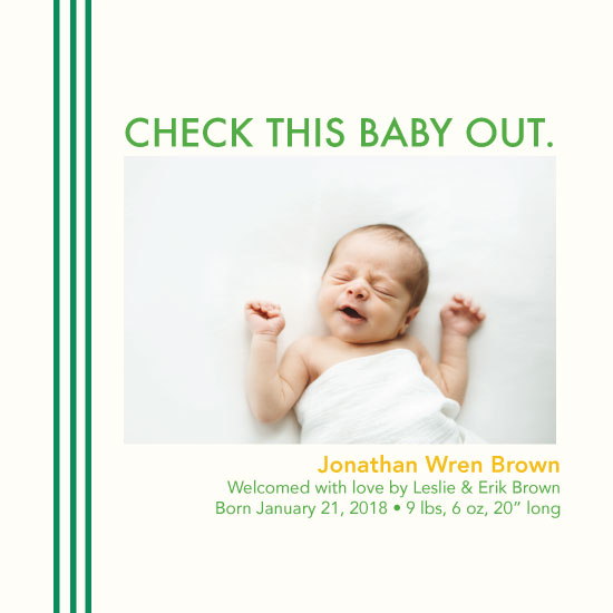 birth announcements - Check This Baby Out by Jessica Poundstone