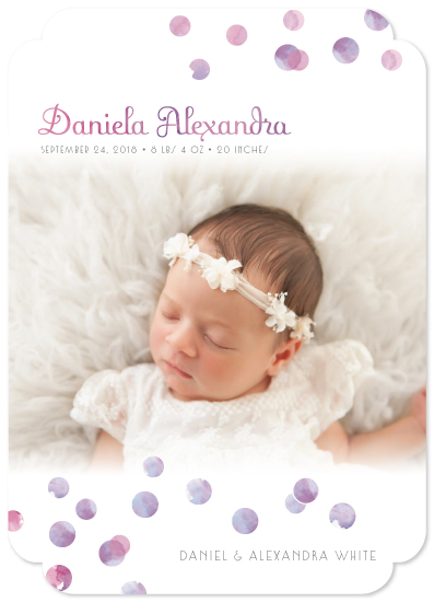birth announcements - Watrcolor Polka Dos by Henri Martinez