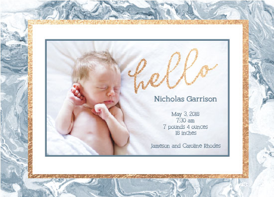 birth announcements - Baby Blue Marble by Karen Holcombe