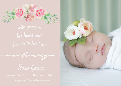 birth announcements - Flowers and Grace by Meri Ashford