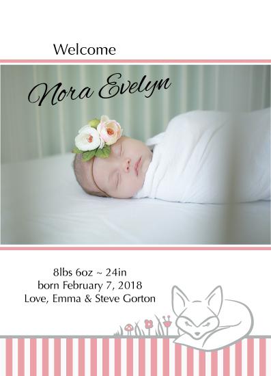 birth announcements - Sleepy Fox by Nicole Emel