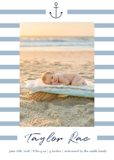 birth announcements - Newly Nautical by Jacquelyn Kellar