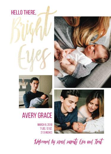 birth announcements - Bright Eyes Foil by Cindy Reynolds