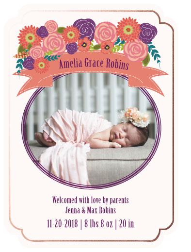 birth announcements - Floral Birth Announcement by Jennifer Warren