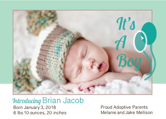 birth announcements - Adopted Baby Boy by Kristen Niedzielski