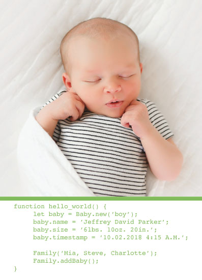 birth announcements - hello world program by Meredith Edmonson