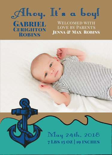 birth announcements - Sailor Boy Birth announcement by Jennifer Warren