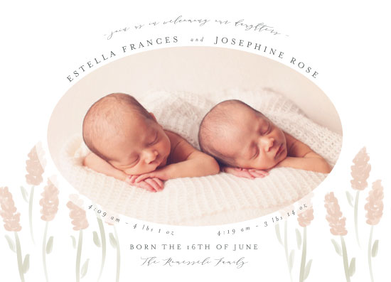 birth announcements - Field of Multiples by Julie Hebert