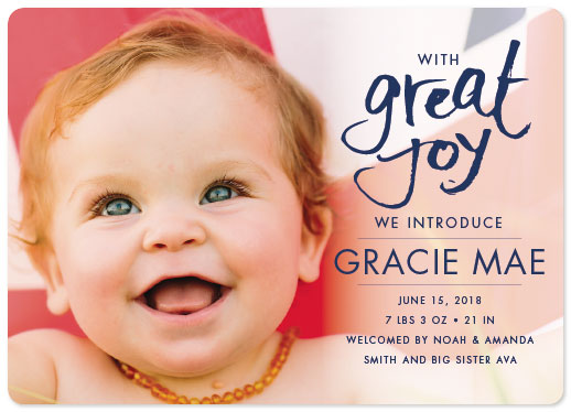 birth announcements - With Great Joy by Sarah Teske