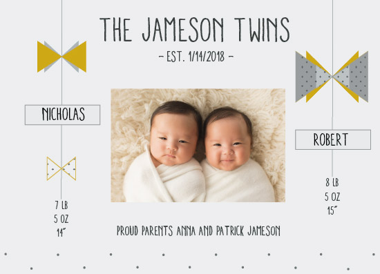 birth announcements - Two little bows by Karla Michelle