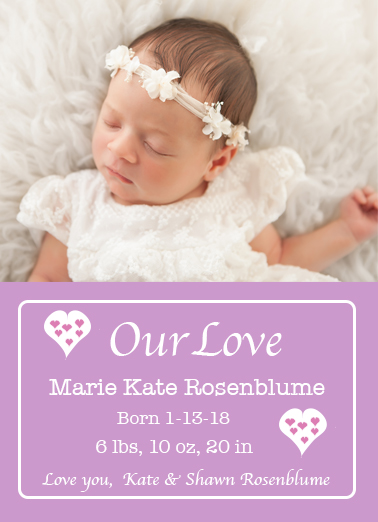 birth announcements - Pink Hearts Baby by Kristen Niedzielski