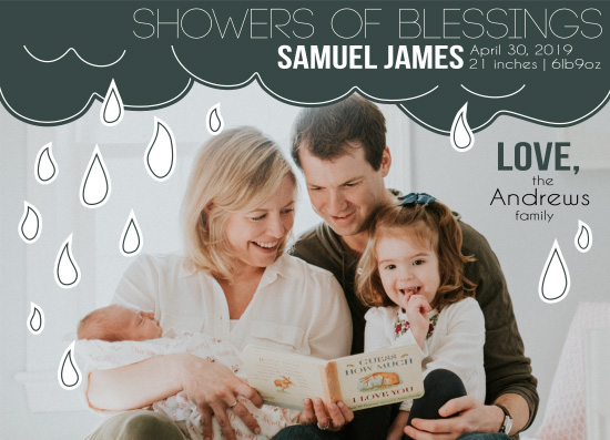 birth announcements - Showers of Blessings by Amy MacCready
