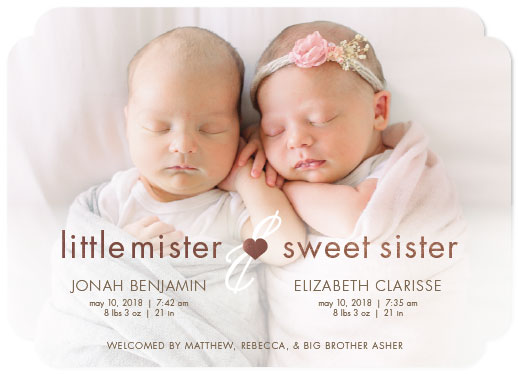 birth announcements - Little Mister & Sweet Sister by Sarah Teske