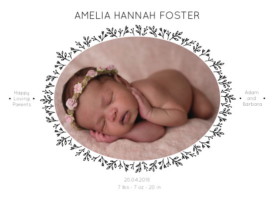 birth announcements - Oval floral frame by Julia Khimich