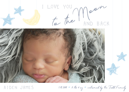 birth announcements - Moon & Back by Jacquelyn Kellar