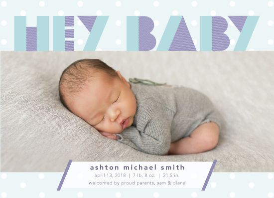 birth announcements - Hey Baby - Stripes and Dots by Katrine Guzman