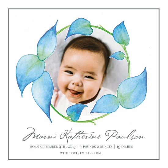 birth announcements - Watercolor Flower Frame by Amy Solaro