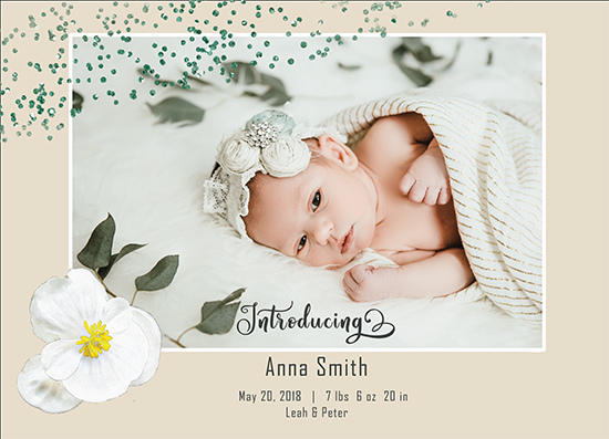 birth announcements - A Bright Floral Introduction by Jenny Rajan Valiaveetil