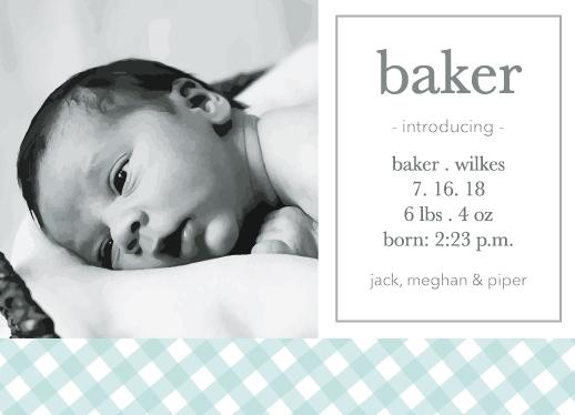 birth announcements - Simple Boy Gingham by Paper Etiquette