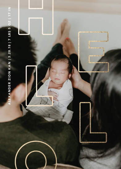 birth announcements - Foil Hello by Travel and Tart