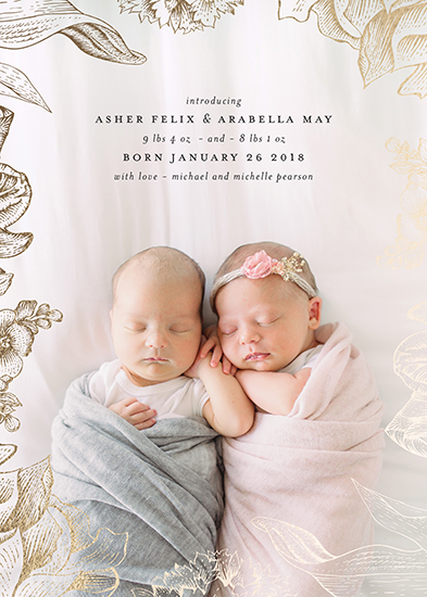 birth announcements - Twins With Love by Mint and Merit