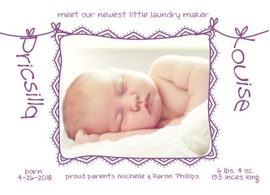 birth announcements - Little Laundry Maker by Theresa Dryer