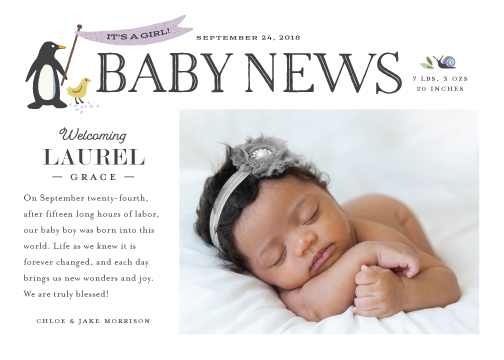 birth announcements - Baby News by Griffinbell Paper Co.