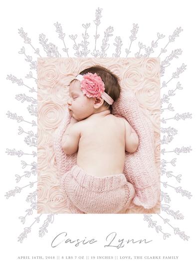 birth announcements - Lavender Corona by Jacquelyn Kellar