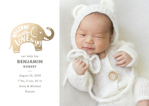 birth announcements - Luxe Elephant by Griffinbell Paper Co.