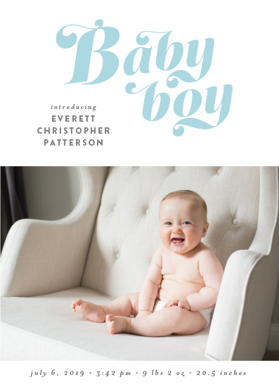 birth announcements - Retro Baby Boy by Ella Weaver