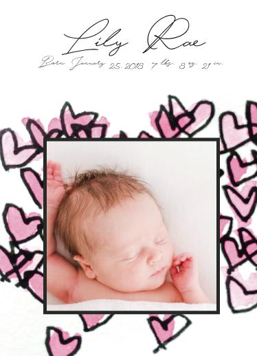 birth announcements - Framed Hearts by Avila Arts