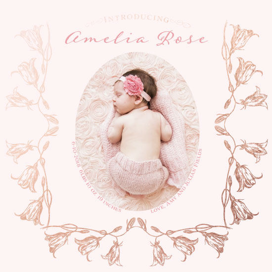 birth announcements - Pink Campanula by Madrona Press