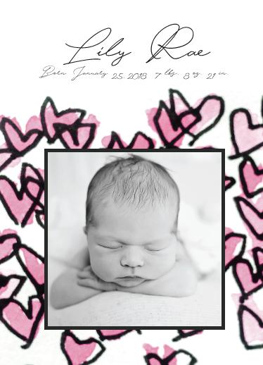birth announcements - Framed Hearts 2 by Avila Arts