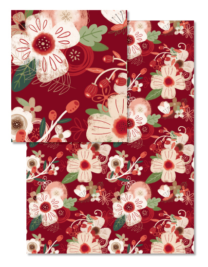 - Red and Cream Holiday Floral by Noonday Design