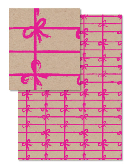 - Bubblegum Bow Gift Wrap by Clare King